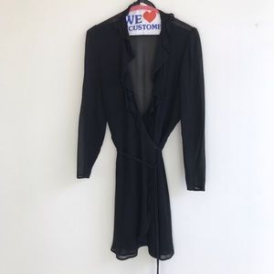 Reformation black ruffle wrap dress